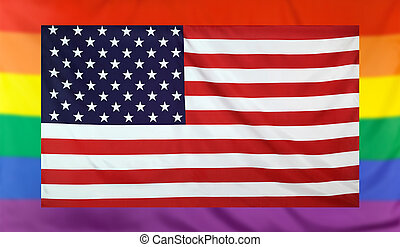 Flag of USA and rainbow flag - LGBT movement concept with...
