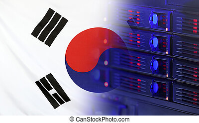 Technology Concept with Flag of South Korea - Technology...