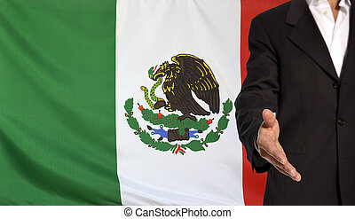 Open hand and Mexico flag in the background - Businessman...