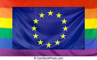 Flag of Europe and rainbow flag - LGBT movement concept with...