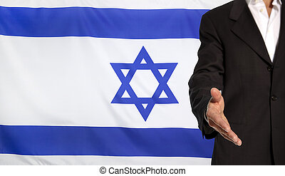 Open hand and Israel flag in the background - Businessman...