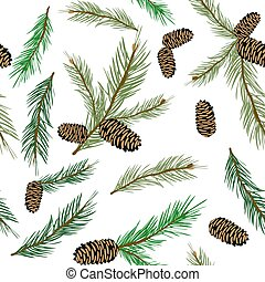 Vector illustration seamless pattern with pinecone branch ....