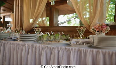 View of different meals on the table. Few footages in one.