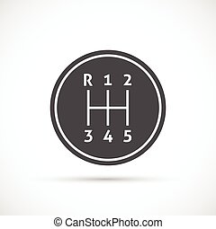 Manual Transmission icon. Gear shifter icon on white...