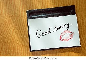 Red lips morning kiss note message - Sexy girl Red lips kiss...