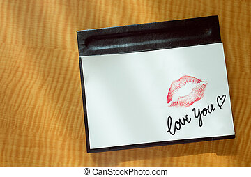 Red lips kiss love you note message - Sexy girl Red lips...