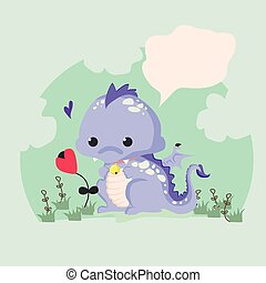 Fun vector illustration of a cute dinosaur
