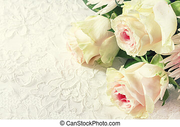 Wedding background with roses and lace Toned image