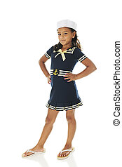 Sassy Young Sailor Girl - A full-length image of a pretty...