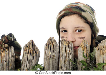 Peeking Camo Girl