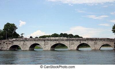 famous Tiberius bridge Rimini