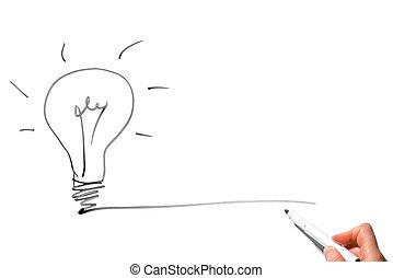 Creative drawing a marker - light bulb symbolizes an idea
