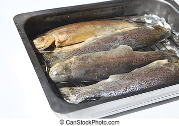 Trouts in pan - Four trouts in smoker oven