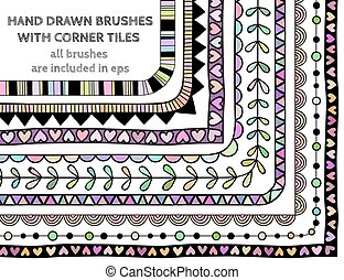 Vector set of nine hand drawn brushes with corner tiles....
