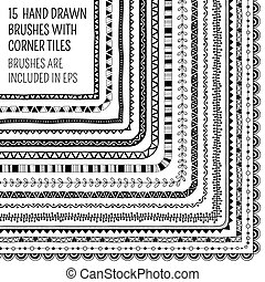 Vector set of fifteen hand drawn brushes