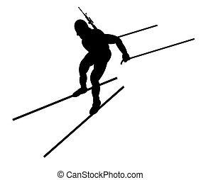 Biathlon competitor. Illustration. Side view.