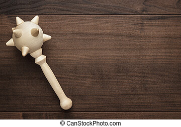 wooden toy mace on the table - handmade wooden toy mace on...