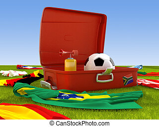 Suitcase of the soccer supporter