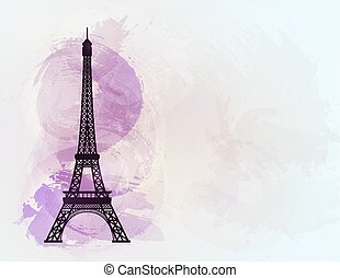 Eiffel tower on background of France flag. Vector...