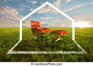 Eco House - Comfortable seat in meadow for Eco house concept