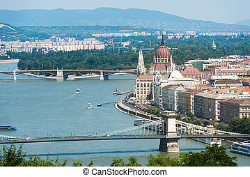 beautiful view Chain Bridge on Danube and National...