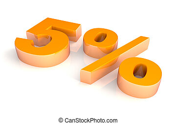 Five Percent - Threedimensional orange chromium five percent...