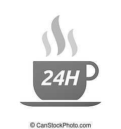 Coffee mug icon with the text 24H - Illustration of an...