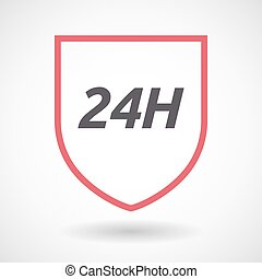 Isolated line art shield icon with the text 24H -...