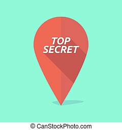 Long shadow map mark icon with the text TOP SECRET -...