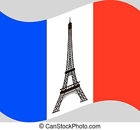 Eiffel tower on background of France flag.
