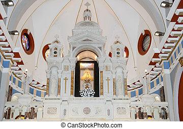 Interior of El Cobre church and sanctuary - El Cobre, Cuba -...