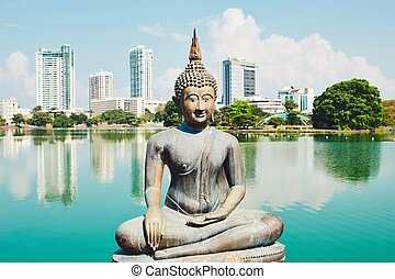 Budhist temple in Colombo. The Seema Malaka Temple -...