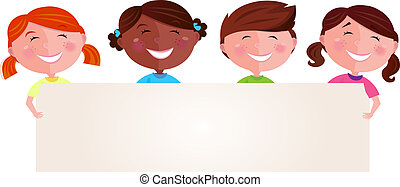 Multicultural children with banner - Vector Illustration of...