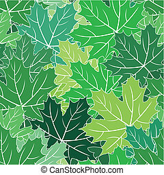 Spring maple green leaves vector seamless texture