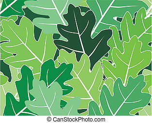 Spring oak green leaves vector seamless texture