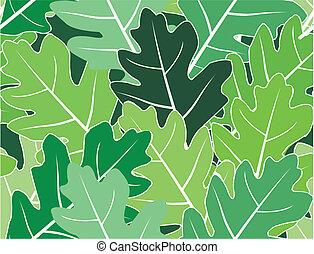 Spring oak green leaves vector seamless texture