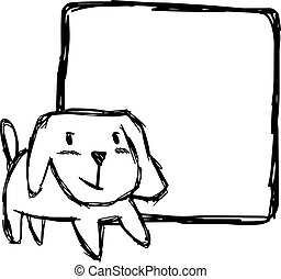 illustration vector hand draw doodles of cute dog smiling with blank square space isolated on white background.