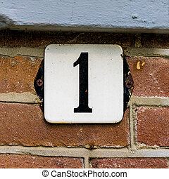Number 1 - enameled house number one