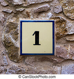 Number 1 - house number one on a ceramic tile