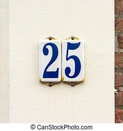 Number 25 - Enameled house number twenty five