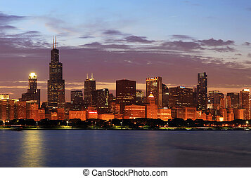 Chicago Skyline Panorama at Dusk