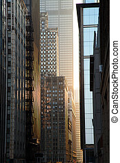 Skyscrapers Steet at Sunset, Chicago Downtown