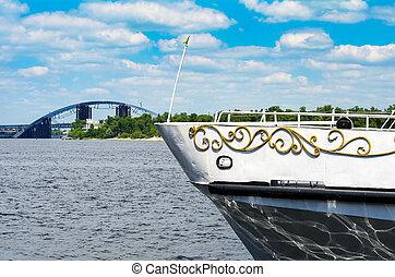A ship on the river. Away bridge