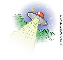 Flying Saucer Cartoon Illustration