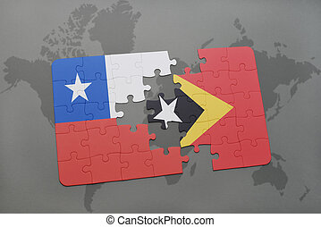 puzzle with the national flag of chile and east timor on a world map background.