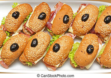 Ham Sandwiches in Wholegrain Buns With Olives