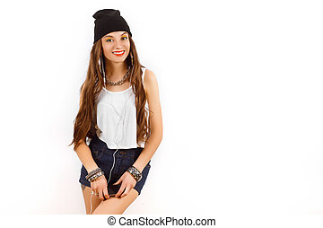 beautiful woman wearing in black hat and white T-shirt...