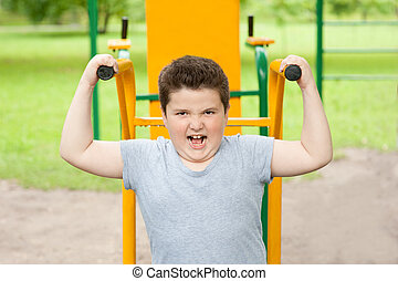 boy, sport, fat, lose weight, fitness, exercise, kid, strong, trainer
