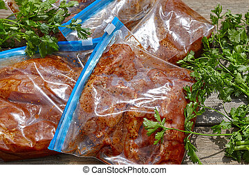Marinated Meat with barbecue sauce - Marinated Meat pork and...