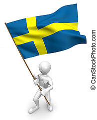 Men with flag. Sweden